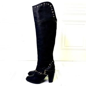BROWNS OVER THE KNEE ROCKSTUD MOTO BOOTS